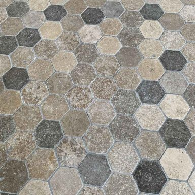 dallage Bergerac forme hexagonale en pierre naturelle